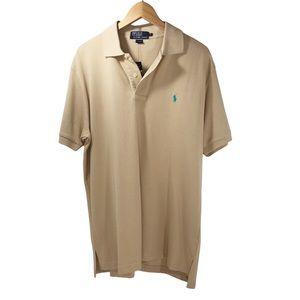 NWT Polo by Ralph Lauren Pique Cotton Polo Short Sleeve Tan Large